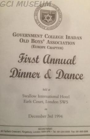 The Cover Page of the First Annual Dinner & Dance Brochure