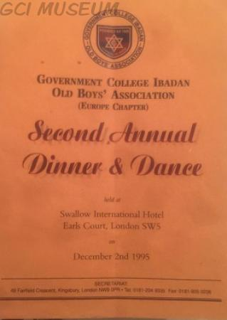 The Cover Page of the Second Annual Dinner & Dance Brochure
