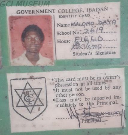 Malomo Dayo's GCI School ID Card