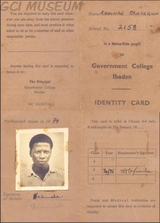 Segun Kehinde's GCI School ID Card