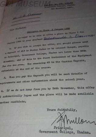 GCI admission letter