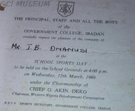 Invitation letter gci museum the picture shows the sample copy of the invitation letter for parentswards of gci boys to the school sports day as part of the tradition in the ancient stopboris Image collections
