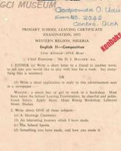 A Primary School Leaving Certificate Examination question paper (Subject: English II - Composition) in 1953