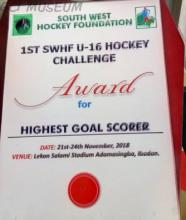 The award won by David Ademola of GCI at the 2018 Under-16 South West Hockey Foundation Tournament